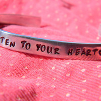 listen to your heart aluminum bracelet 1/4 inch wide