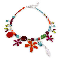 Multi Coloured Beaded Enamel Necklace