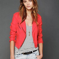 Free People Lovely In Linen Motorcycle Jacket