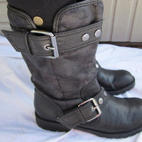 Vintage Black Biker Boots Size 6 by CleopatraVintageShop on Etsy