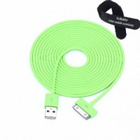 Colorful 30pin USB Data Sync and Charge Cable Compatible with Iphone 4/4s, Iphone 3g/3gs, Ipod (Green,10ft Long): Cell Phones & Accessories