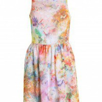 LOVE Watercolour Floral Cross Back Sun Dress - Love