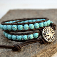 Turquoise beaded bracelet. Bohemian chic leather wrap bracelet