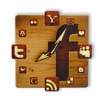 Facebook Wood Icon Wall Clock by walldecoration on Etsy