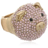 BCBGeneration Gold and Pink Pig Cocktail Adjustable Ring