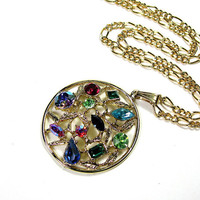Colorful Vintage 1960s Crystal Pendant Necklace
