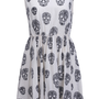 "ROMWE | Zippered ""Skull"" White Dress, The Latest Street Fashion"