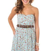 strapless cluster floral print belted casual dress - 1000043318 - debshops.com