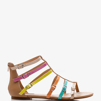 Colorblocked Buckle Gladiator Sandals