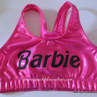 Bar Bar Pink/Black Metallic Sports Bra  Cheerleading