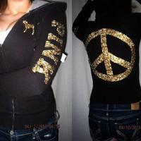 VICTORIA&#x27;S SECRET PINK BLING JEWEL BLACK ZIP HOODIE/ SWEATSHIRT SIZE XS