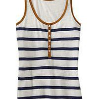 Women&#x27;s Striped Henley Tanks | Old Navy