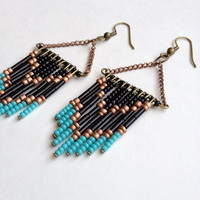 Black Beaded Chevron Earrings by OliveTreeHandmade on Etsy