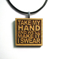 Bon Jovi Lyrics - Take My Hand And We'll Make It I Swear - JukeBlox Wood Necklace