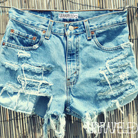 Ripped High Waisted Shorts SMALL by UnraveledClothing on Etsy