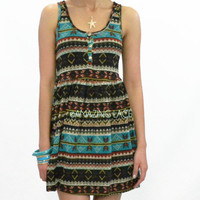 Join My Tribe - Aztec Tribal Print Sun Dress
