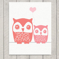 Nursery Owl Art Print Mom and Baby Owl by DeliveredByDanielle