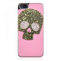 Handmade Skull Rhinestone Leather Case For iPhone 5