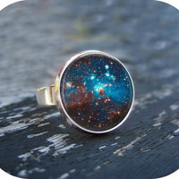 Space Sparkle Ring Silver Glass Art Ring Picture by Lizabettas