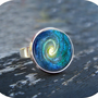 Space Swirl Ring Silver Glass Art Ring Picture Ring by Lizabettas