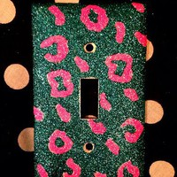 Glittered Peacock & Hot Pink Cheetah Light Switch Cover