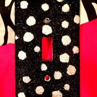Glittered Black & White Polka Dots Light Switch