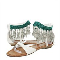 Red Kiss Teffanyf7 Cream Beaded Chandelier Ankle Cuff Gladiator Sandals and Womens Fashion Clothing  Shoes - Make Me Chic