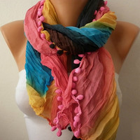 Etsy - Rainbow Women Shawl Scarf - Headband Necklace Cowl/76965808