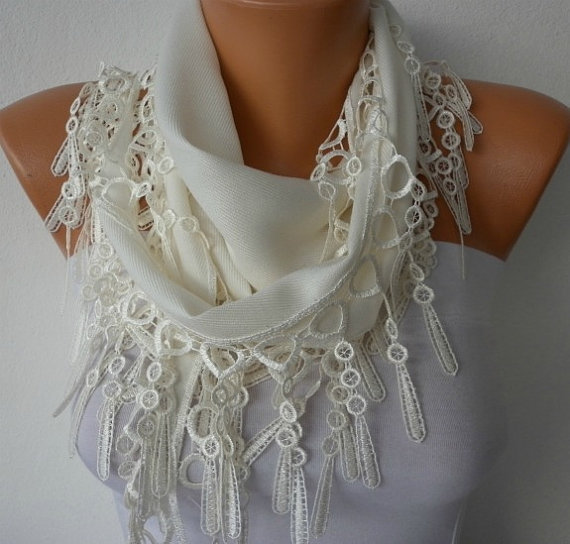 Etsy - Off White Scarf  -  Pashmina Scarf  - Headband Necklace Cowl with Lace Edge - White