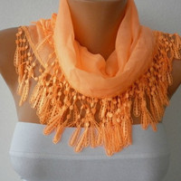 Etsy - Orange Scarf  - Cotton  Scarf - Headband Necklace Cowl with Lace Edge /76945592  -