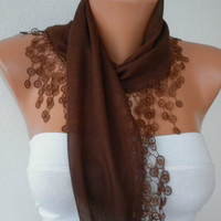 Etsy -Brown Scarf  - Cotton  Scarf - Headband Necklace Cowl with Lace Edge  /76939689 -