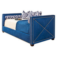 Derbyshire Daybed in Blue Suede - Upholstered Beds and Headboards - Bedroom and Bath - Furniture - PoshLiving