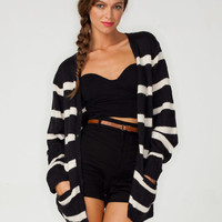 Motel Betty Boyfriend Cardi in Blue and White Stripe