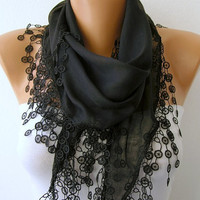 Etsy -Black Scarf  - Cotton  Scarf - Headband Necklace Cowl with Lace Edge   -/76758112