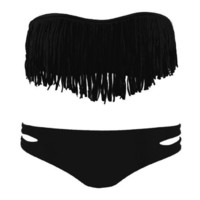Fashion Tassel Padded Bandeau Fringe Bikini