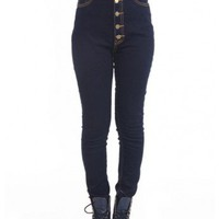 High Waist Skinny Button Up Jeans With Contrast Sticthing. | Black | 100% Cotton by Youreyeslie.com Online store> Shop the collection