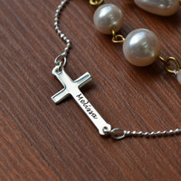 Sterling Silver Engraved Side Cross Necklace