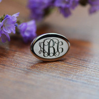 Rhodium Plated Monogram Cufflinks