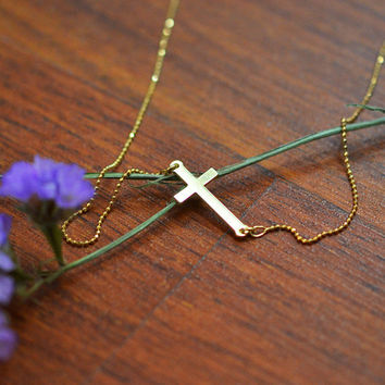 18K Yellow Gold Plated Sterling Silver Engraved Side Cross Necklace