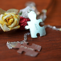 Sterling Silver Couples Puzzle Necklace
