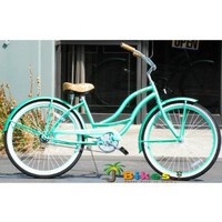 J Bikes Chloe 26&amp;quot; Women`s 1-speed Beach Cruiser Bicycle Mint Green Bike: Sports &amp; Outdoors