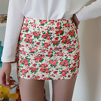 Vintage Flower Elastic Slim Mini Skirt from FUNKISS