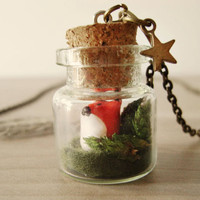 Fox terrarium necklace Woodland forest Tiny fox by KandyDisenos