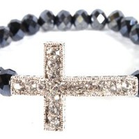 Black Shamballah Stretch Bracelet with an Iced Out Cross Charm and 25 Glass Beaded Balls: Jewelry