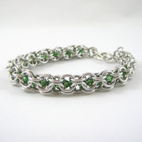 Green Swarovski and Chainmail Bracelet