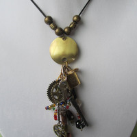 Necklace Steampunk Design Beaded Mixed Media Pendant Design Necklace
