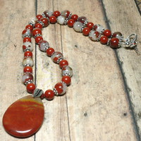 Noreena Jasper Pendant w Red Jasper and Poppy Jasper 18 inch Necklace