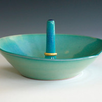 Turquoise Ring Holder handmade ceramic ring holder by ocpottery