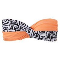 Junior&#x27;s Tribal Print Bandeau Swim Top -Orange M
