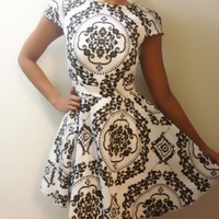 Black White Skater Foral Print Dress, Vintage Style
